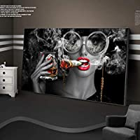 セクシーな赤い唇喫煙お金の女性キャンバスにワイングラスを保持している装飾的な絵画壁アートプリントとプリント装飾70x140cmフレームレス