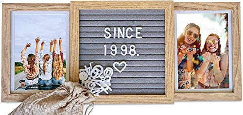 Custom Picture Frame with Genuine Felt Letter Board (Natural Oak) - Personalize 6x4 Photos for Best Friends Forever, Love, Engagement, Besties, Goodbye