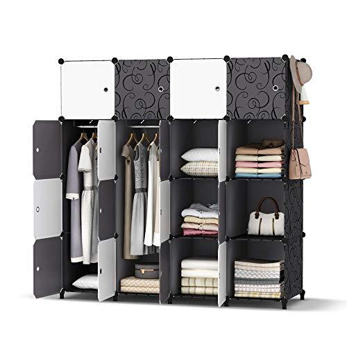 HOMIDEC Kleiderschrank, Tragbarer Regalsystem, 16 Würfel Schrank aus Kunststoff mit 3 Kleiderstange, Schlafzimmerschrank kleiderschrank Weiss für Schlafzimmer, 146 x 142 x 46cm