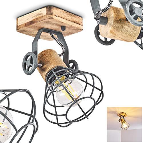 Lámpara de techo Nifun, de metal/madera en verde/marrón, 1 llama, con focos...