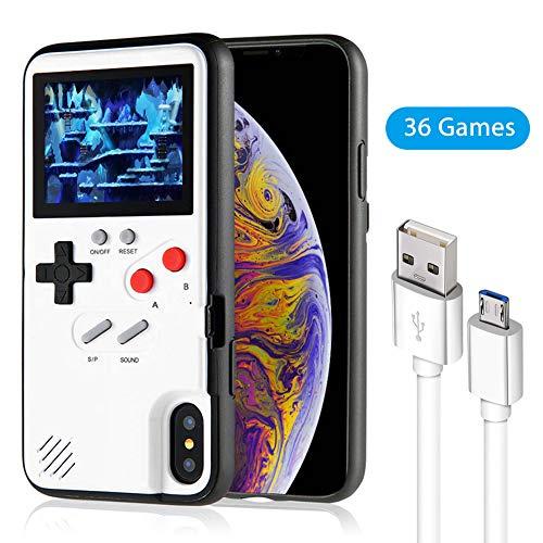 Elekpopu Game Case für iPhone X,Xs, Retro 3D Game Hülle mit 36 klassischen Spielen (Weiß)