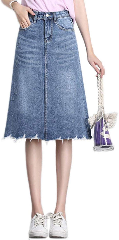 QJKai Women's Denim Skirt High Waist ALine Skirt Fashion Irregular Denim Midi Skirt for Summer