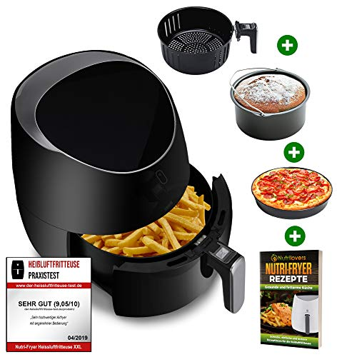 NUTRI-FRYER 5.0L Heißluftfritteuse XXL [2000W] Power Airfryer Groß - Filter Cool Touch, Digital Touchscreen Timer | Pommes Fritteuse ohne Fett & Öl | Pizzablech + Barrel + Rezeptbuch (Schwarz)