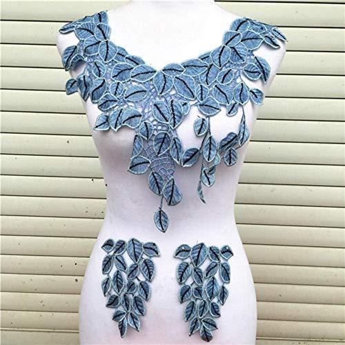 1pc Blue Series Lace Ausschnitt Kragen Blume und Herz Venise Lace Applique Trim, Lace Fabric Sewing Supplies Scrapbooking-L-Blue