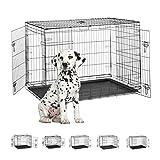 Relaxdays Hundekäfig für zuhause, Büro, Auto Hundebox faltbar, Stahl Gitterbox mit Wanne, Kennel 86,5x121,5x79cm schwarz