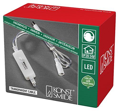 Konstsmide 3668-003 dimmer, kan achteraf worden ingebouwd voor alle constsmide LED-binnenartikelen met transformator tot max. 400 leds/voor binnen (IP20) / transparante kabel.