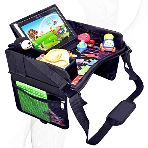 DMoose Kids Travel Tray, Toddler Car Seat Lap Activity Tray with Padded Comfort Base, Side Walls,...