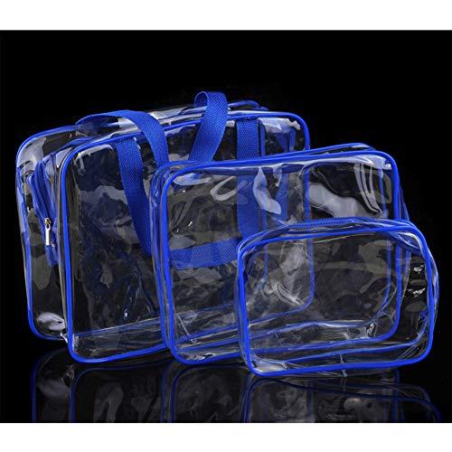 RONSHIN 3pcs / Sacs de Stockage Transparents r¨¦gl¨¦s pour Le Maquillage cosm¨¦Tique de Toilette organisent Bleu Ciel