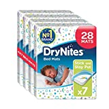 Huggies DryNites Disposable Bed Mats, Mattress Protector, 28 Mats Total (4 Packs of 7 Mats)