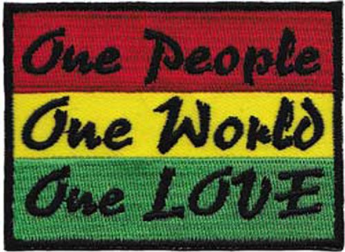 REGGAE & RASTA One People, One World, One Love liebe liebe liebe Patch Fleck Iron-On / Sew-On Officially Licensed Artwork, 2.2