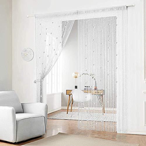 2pcs White Bead Door Curtain Beads for Doorways Door Curtain Beads String Curtain Panel Door Window Panel Doorways Divider Window String Curtains 90x200cm Glitter Fringe Curtains Living Room Bedroom