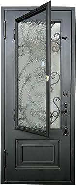 ALEKO IDQD32 Iron Vine Design Single Door with Square Top - 96 x 40 X 6 Inches - Matte Black