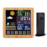 Lancoon Estaciones meteorológicas, Control de Pantalla táctil inalámbrico, Monitor de Temperatura de Humedad Interior/Exterior, Reloj Despertador Digital LCD en Color, 1 Sensor Remoto(Madera)