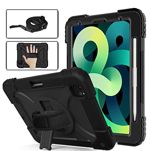 eTopxizu Case for New iPad Air 4th Generation 10.9 Inch 2020/iPad Pro 11, Heavy Duty Shockproof Rugged Case with 360 Rotatable Kickstand/Hand Strap, Adjustable Shoulder Strap & Pencil Holder, Black