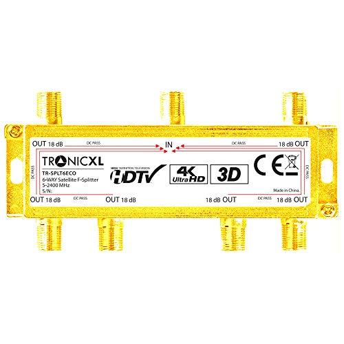 TronicXL 6fach Verteiler Premium TV Kabel Adapter Antennenverteiler Kabelfernsehen DVBC zb für Unitymedia Splitter Unicable 6-Fach hd tauglich 4K HDTV DC-Durchlass UKW Radio Satelliten-Anlagen