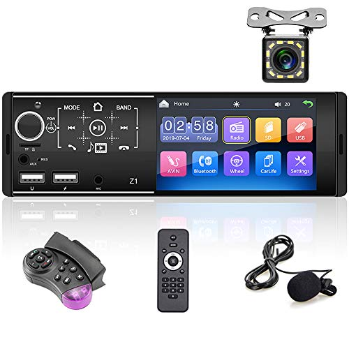 Bluetooth Autoradio, 1 Din-Autoradio mit 4,3-Zoll-HD-Touchscreen, Autoradio-Unterstützung für Autos FM/Spiegelverbindung/USB/TF-Karte/Aux-In/SWC/Rückfahrkamera / 7-Farben-Hintergrundbeleuchtung