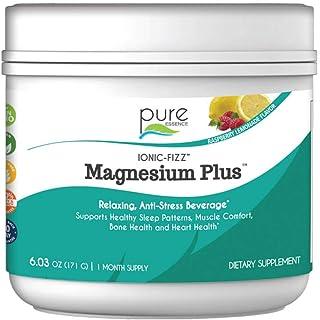 Pure Essence Labs Ionic Fizz Magnesium Plus - Calm Sleep Aid and Natural Anti Stress Supplement Powder - Raspberry Lemonad...