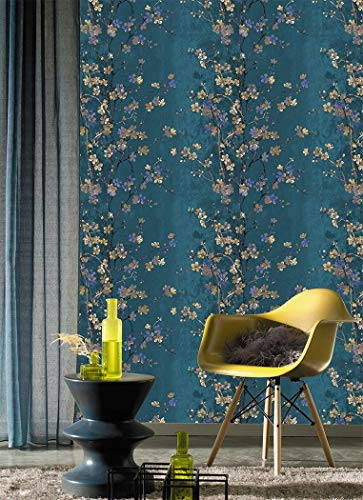 JZ·HOME 2618 Vintage Floral Wallpaper Blue/Yellow Thick Textured Flower Wall Paper Home Bedroom Living Room Hotels Wall Decoration 20.8'x 32.8ft
