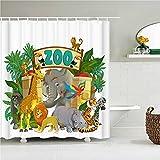 WILLMEIH Duschvorhang 3D Elefant Giraffe Zoo 54