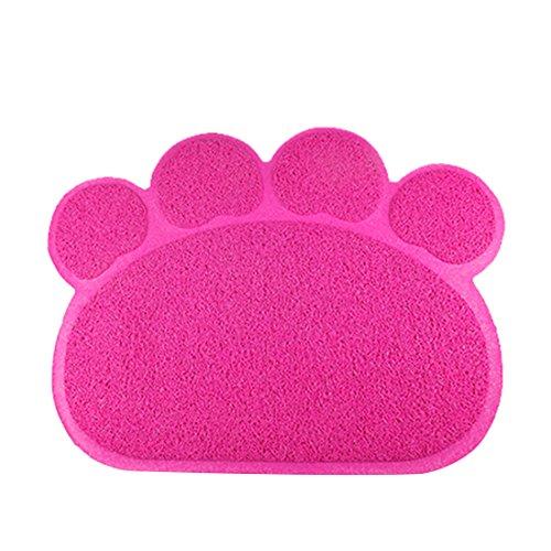 Katzentoilette Matte rutschfest Futterunterlage Teppich Lebensmittel Matte Süße Pfote Katzenklo Matte Haustier Futtermatte 40cm×30cm (rosa, paw - 59 * 37cm)