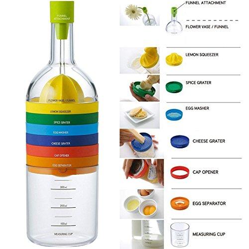 Locisne 8 en 1 herramienta de la cocina,su multifuncionalidad,recipiente de plástico de botellas Esenciales Herramientas de Cocina Cocina Cocina Gadget(embudo, exprimidor de limón,separador huevo)