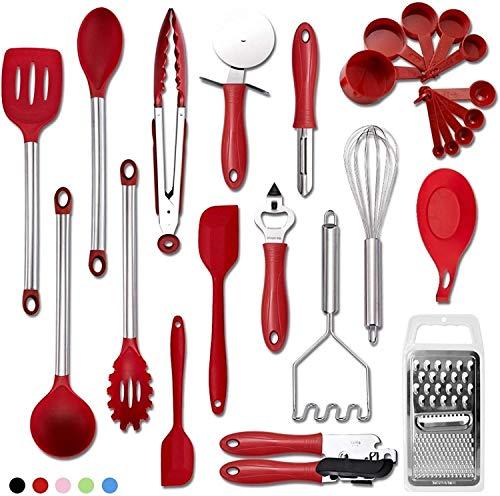 HAOJUE Juego de utensilios de cocina de 25 piezas, utensilios de cocina de silicona y acero inoxidable de nailon antiadherente, juego de herramientas para hornear (color, rojo), rojo (color: rojo)