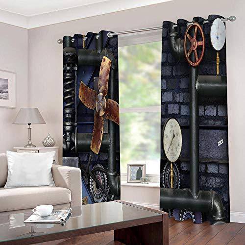 empty Cortinas Cortinas Equipo Retro y mecánico Dormitorio Moderno Ventana 3D Impresión Ojales Habitación Antimosquitos Insonorizantes Protección UV 2x140x175cm(AnxAl)