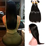 360 Lace Frontal Straight Closure Full Swiss Lace Pre Plucked with Baby Hair and Peruvian Hair Weave 3 Bundles Brazilian Virgin Hair Extension (18 20 22 +16(360))