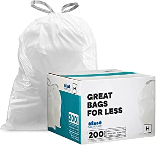 """Plasticplace Custom Fit Trash Bags simplehuman (x) Code H Compatible, 8-9 Gallon, 30-35 Liter,18.5"""" x 28"""", 200 Count, White"""