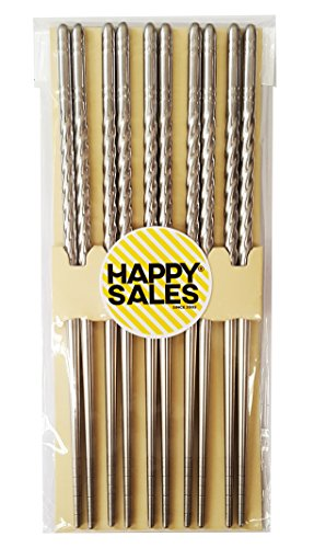 Happy Sales HSCSS4, 10 Pc Chopstick Stainless Steel Chopsticks 5 Pairs spiral
