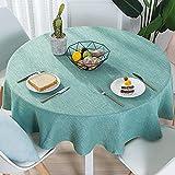 Lsimeru Tischtuch Rund 120cm Abwaschbar Baumwolle und Leinenoptik Tischdecke Tafeldecke Gartentisch Schmutzabweisend Indoor und Outdoor Blau Grün