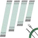 40 cables de pesca para aparejos de pesca, líder de línea de pescado de alta resistencia, a prueba de dientes, 7 hilos de acero inoxidable con broches giratorios, 4 tamaños, 6/8/10/12 pulgadas (verde)