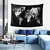 Ouee Dark Galaxy Tapestry Starry World Map Tapestry Constellations Tapestry Black And White Map Tapestry For Living Room 60x40 Inches