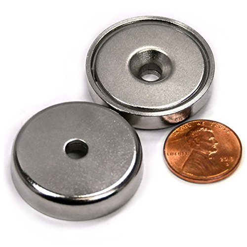 """88 LB Super Strong Neodymium Cup Magnets Dia 1.26"""" w/ #10 Countersunk Hole Plus Matching Strikers & Screws. Made of Neodymium Magnets - Great Round Base Mounting Magnets Super Powerful 2 Packs"""