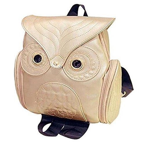 Modischer Eulen-Rucksack für Damen und Mädchen, Mini-Rucksack aus PU-Leder in Schwarz weiß B9 Gold