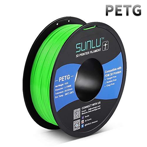 PETG Filament 1.75mm, Upgrade 1kg Roll (2.2lbs), PETG 3D Filament Dimensionsgenauigkeit +/- 0.02mm, for FDM 3D Printer and 3D Pen, Green