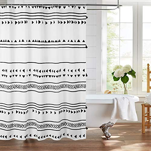 Uphome 72x72 Boho Shower Curtain Black and White Fabric Bathroom Curtains Set with Hooks, Chic Triangle and Geometric Tassel Bath Curtain, Heavy Duty and Waterproof for Modern Hotel Decor