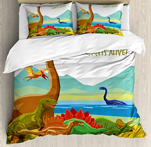 Dinosaur King Size Duvet Cover Set by Ambesonne, Flying Swimming and Land Dinosaurs with Lake and Mountains Dino Park Alive Theme, Decorative 3 Piece Bedding Set with 2 Pillow Shams, Multicolor