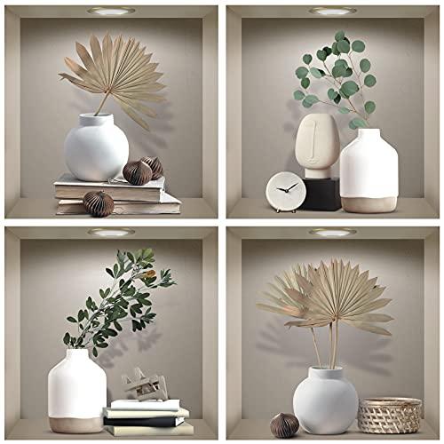 TOARTI 4 Pezzi 3D Vaso Poster,3D Foglia Verde Adesivi da Parete,Moderno Vasi Adesivi Murali per Camera da Letto,Beige Rimovibili Piante Verdi Decalcomanie per Soggiorno Ufficio Decorazioni,30x30CM