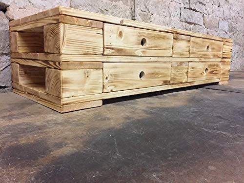 """Palettenmöbel Sideboard mit Schubladen Lowboard """"Ragusa"""" geflammt und geölt"""