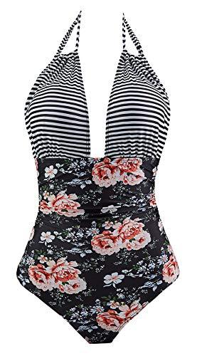 Eomenie Women's One Piece Swimsuit Tummy Control Plus Size Swimwear Halter Bathing Suit