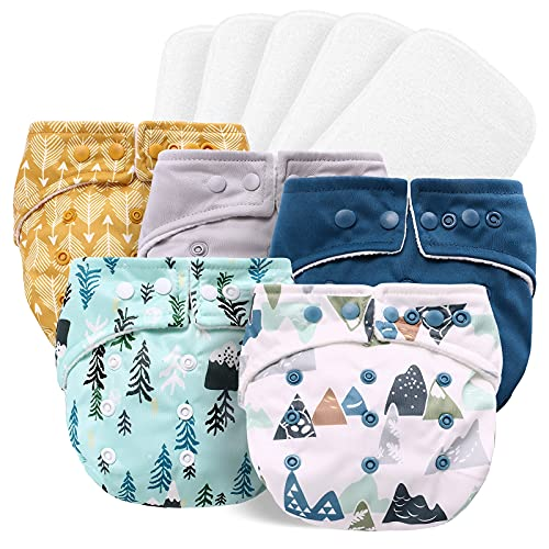Baby Cloth Diapers One Size Adjustable Washable Reusable for Baby Girls and Boys 5 Packs with 5 Microfiber Inserts (Sport Boy)