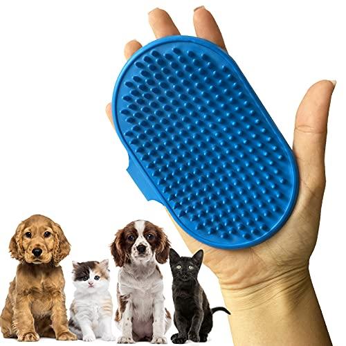 BOHAICO Cepillo de Goma para Mascotas, Gatos y Perros. Cepillo de Aseo para Pelo Largo y Corto. Manopla Ajustable para Peinar. Masajeador para baño. Peine Tipo Guante (Azul)
