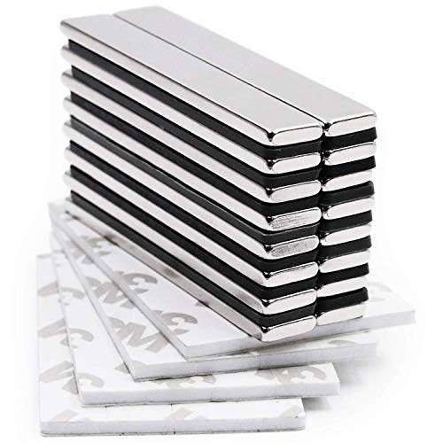 Neodymium N52 Bar Magnets (10 Pack) - Incredibly Powerful Adhesive Strength | Small, Thin Rectangular Metal Rare Earth Magnets (60 x 10 x 3 mm) | for Industrial, Hobby, Refrigerator & Craft Use