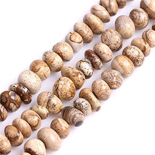 Sweet & Happy Girl'S Store 8-10x12-14mm Kartoffelform Edelstein-Bild-Jaspis Perlen Strang 15 Zoll Schmuckherstellung Perlen