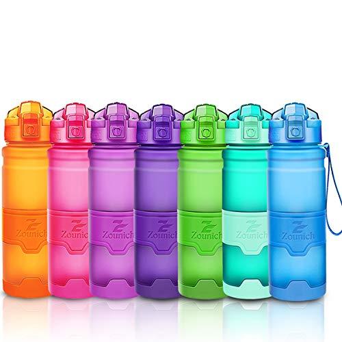ZOUNICH Trinkflasche Sport BPA frei Kunststoff Sporttrinkflaschen für Kinder Schule, Joggen, Fahrrad, öffnen mit Einer Hand Trinkflaschen Filter, Blau, 17oz/500ml