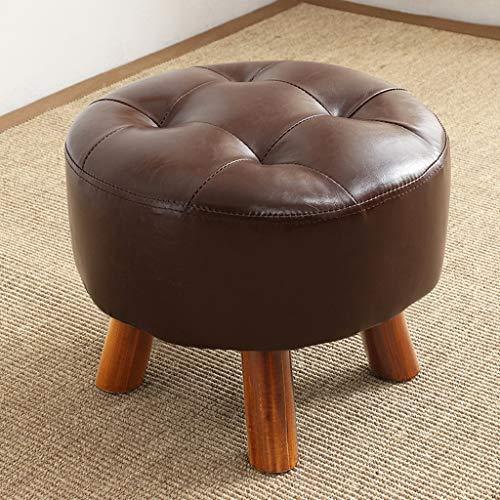 CJH Lederen kleine kruk kinderstoel mode sofa kruk huis woonkamer make-uptafel massief houten kruk