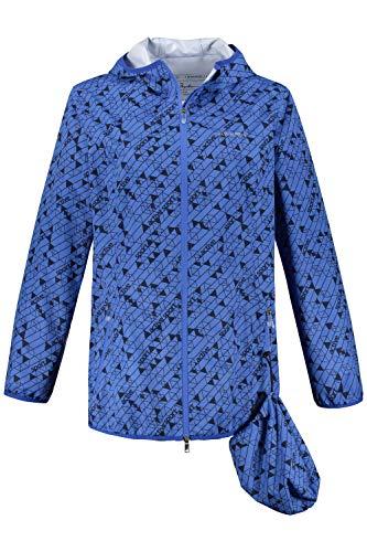 Ulla Popken Damen große Größen Regenjacke, recycelt, atmungsaktiv, Reisebeutel Mittelblau 50/52 723632 90-50+