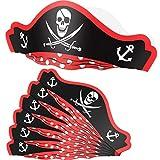 SATINIOR 6 Paquetes Sombreros de Pirata Gorros de Cartón de Fiesta Sombreros Ajustables de Papel de Pirata para Favores de Fiesta de Halloween Cumpleaños de Temática Pirata