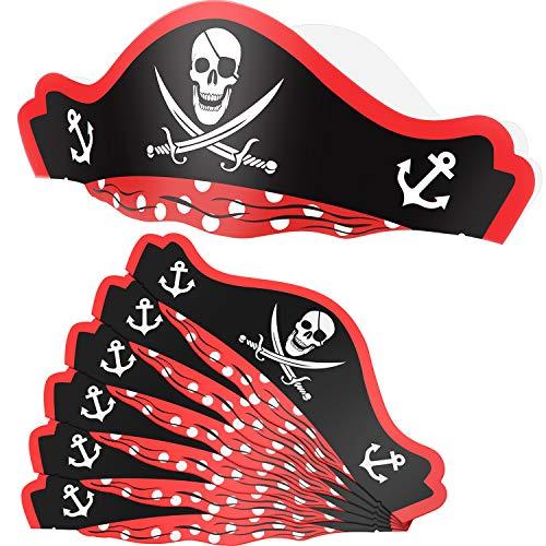 SATINIOR 6 Packungen Piratenhüte Papp Partyhüte Einstellbare Papier Piratenhüte für Party Halloween Piraten Geburtstag Gefälligkeiten